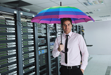 Man with umbrella by server rack